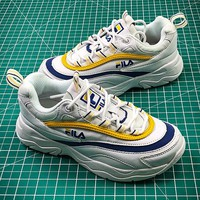 Folder x FILA Ray White Blue Yellow Fashion Sneakers - Best Online Sale