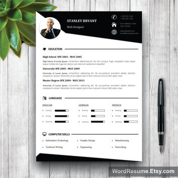 Modern Resume Template WIth Photo + Cover Letter, CV Template (US Letter, A4), Professional Resume, Creative  Resume, Instant Download CV