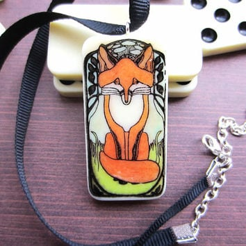 Fox Necklace, Domino Necklace, Domino Pendant, Upcycled Necklace, Animal Necklace, Cute Necklace, Handmade Necklace, Animal Jewellery