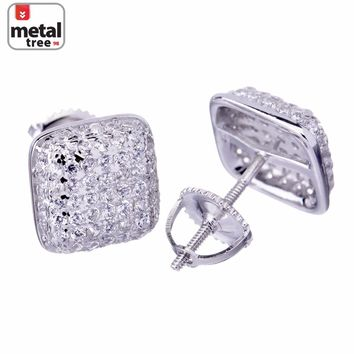 Jewelry Kay style Men's Hip Hop Micro Pave 925 Silver Puff Dome Side CZ Screw Back Stud Earrings