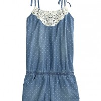 Crochet Dot Denim Romper