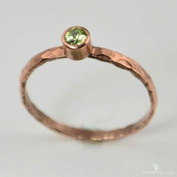 Classic Copper Peridot Ring
