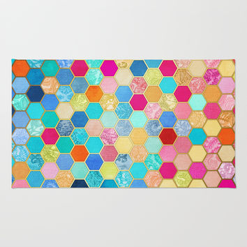 Patterned Honeycomb Patchwork in Jewel Colors Rug by Micklyn