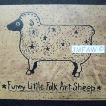 "Primitive Folk Art Print- ""Funny Little Folk Art Sheep""---Copyright Lithograph Print of Original Handcrafted Primitive Folk Art Stitchery"