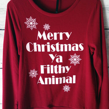Merry Christmas Ya Filthy Animal Ugly Christmas Sweater in Red