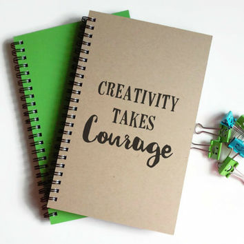 Writing journal, spiral notebook, cute diary, small sketchbook, scrapbook, memory book, 5x8 journal - Creativity takes courage, motivational