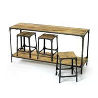 Console And Stool Package Iron Reclaimed Wood