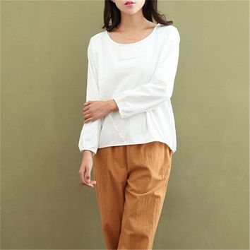 Johnature Women T-Shirts Long Sleeve Cotton Linen Tops Casual 2018 Autumn New O-Neck Loose Brief Puff Sleeve Fashion Women Tops