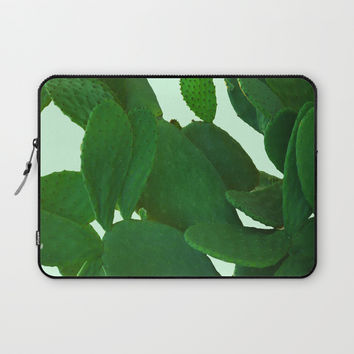 Cactus On Cyan Background Laptop Sleeve by ARTbyJWP