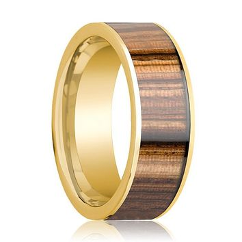 Mens Wedding Ring 14K Yellow Gold Polished Wedding Band with Zebra Wood Inlay - 8mm