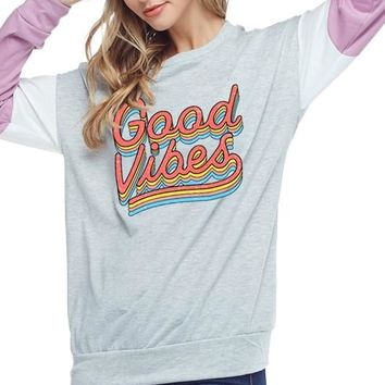 Retro Good Vibes Colorblock Sleeves Lightweight Sweatshirt