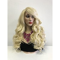 Blond Swiss Lace Front Wig   Long Curly Soft Layered Hair   Harvy