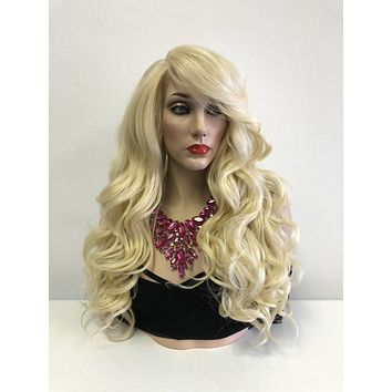 Blond Swiss Lace Front Wig | Long Curly Soft Layered Hair | Harvy