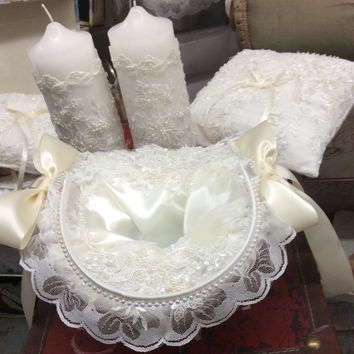 Wedding accessories-ring pillow-unity candles-flower baskets-Lace
