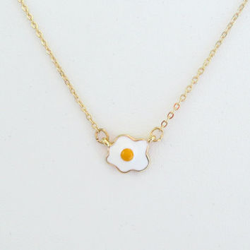 Minimal, Dainty, Fried, Egg, Gold, Necklace, Cute, Yummy, Egg fry, Birthday, Best friend, Gift, Jewelry