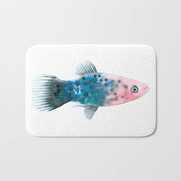 Nautical Fish Bath Mat Watercolor Design Pink Blue Life Under the Sea Bath Rug Home Decor
