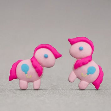 Pinkie Pie Stud Earrings - Inspired By My Little Pony, Cute Jewelry, Gifts For Girls