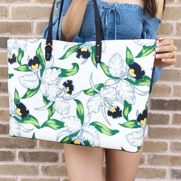 Tory Burch Kerrington Large Square Tote Garden White Floral Laguna