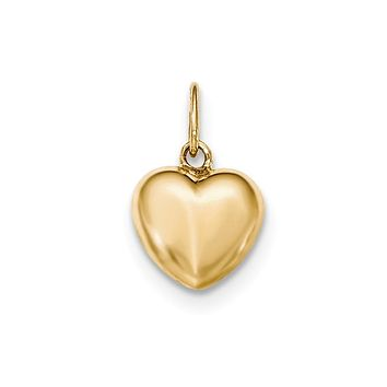 14k Yellow Gold Hollow Puffed Heart Charm or Pendant, 12mm