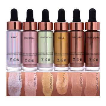 6 Colors Highlighter Make Up Concealer Shimmer Face Glow Liquid Highlighter