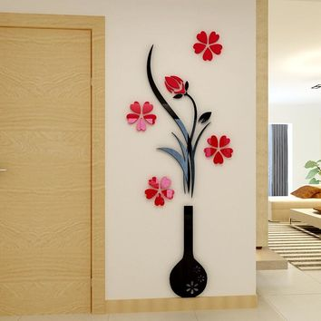 Vase Plum flower 3d three-dimensional Crystal Acrylic wall stickers for Living room