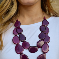 Tagua Nut Flat Necklace Dark Purple