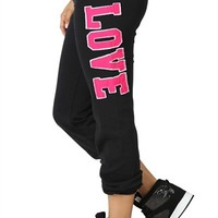 Roll Leg Sweatpants with Love Patch on Leg