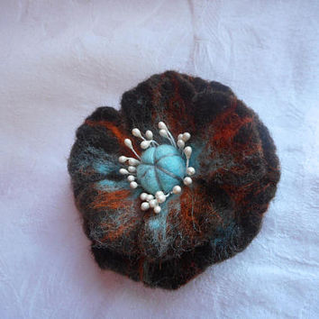 Felted brooch,Orange turquoise brown flower brooch,flower ,felt brooch flower,women,poppyes, hair jewelry,felt flower, pins,Chocolate flower