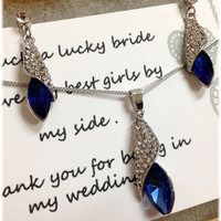Wedding jewelry set ,bridesmaid jewelry set, vintage inspired rhinestone jewelry, Blue crystal jewelry set with bridesmaid thank you card