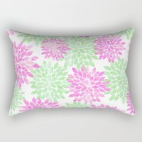 pink and green flowers Rectangular Pillow by Sylvia Cook Photography
