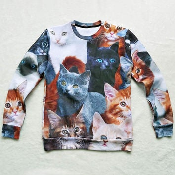Cats Collage Crew Neck Sweatshirt Men & Women Harajuku Style All Over Print Sweater