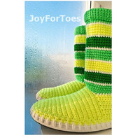 Crochet Boots for the Street Outdoor Boots Lemons Stripes Made to Order