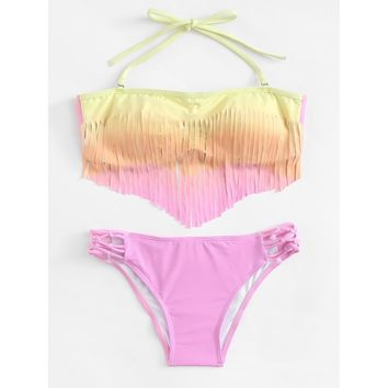 Fringe Ombre Bikini Set - Womens Push-Up Padded Swimwear Swimsuit Bathing Suit