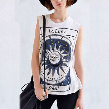 Print T-shirts Summer Round-neck Sleeveless Graphic Tee [7768301953]
