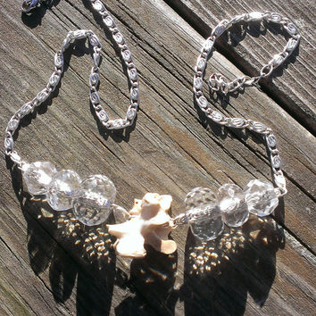 Bone Necklace - Snapping Turtle Bone Jewelry  Gypsy Bone necklace - Ladies Jewelry - Taxidermy oddities - Shaman Wiccan Pagan holiday gift