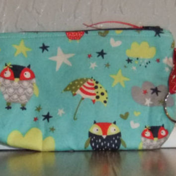 Zip Pouch - Phone Pouch - Cosmetic pouch - zip wallet - Fox fabric on light blue