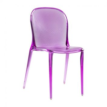 Delicieux THALYA   CLEAR PURPLE ACRYLIC LUCITE DINING GHOST CHAIR