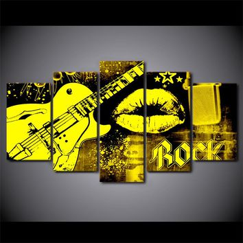 5 Piece Canvas Abstract Art Guitar Print Mouth Lips Kiss  Wall Picture Music Poster