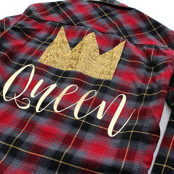 Flannel Shirt. Where the Wild Things Are. Sequin Flannel Shirt. Queen Shirt. Sequin Crown Patch. Boyfriend Flannel Shirt. Graphic Shirt.