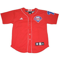 MLB Philadelphia Phillies Halladay #34 Youth Button Down Baseball Jersey L(14-16) Red