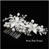 Bridal Hair Comb Crystal Pearl Rhinestone Wedding Jewelry - Vivian Feiler Designs | Wedding Jewelry