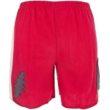 PEAPGQ9 Grateful Dead - Lightning Bolt Red Juvy Shorts