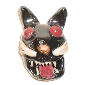 Cat Head  - Hangable and Wearable Ceramic Wall Hanging