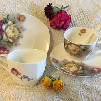 Yellow and Pink Rose Tea Set Peng Dong Floral Porcelain Teacups Saucers and Spoon Vintage Flowered Cottage Chic Serving Ware in Original Box