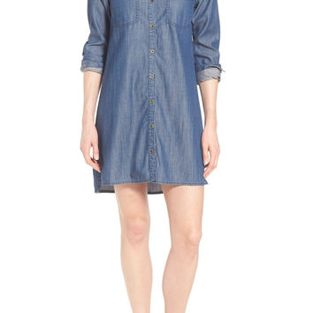 Chambray Mandarin Collar Shirtdress