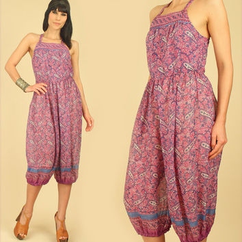 Rare ViNtAgE DEADSTOCK 70's OPEN Back Indian Gauze Cotton Romper Playsuit Jumpsuit Gauzy India Harem Genie Pants Bohemian Gypsy HiPPiE BoHo