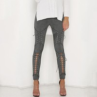 Suede Leather Pencil Pants Lace Up Cut Out  Pants