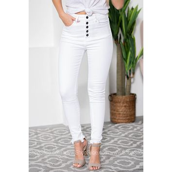 Karen Four Button Enclosure Frayed Jeans