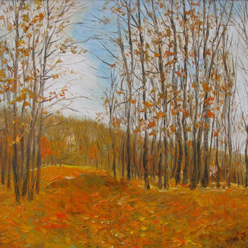 Fall ,giclee canvas print of original oil painting,leaves,trees,landscape,fine art print