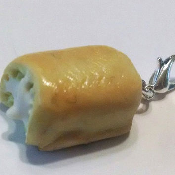 Golden Snack Cake Charm, Polymer Clay Charm, Food Jewelry